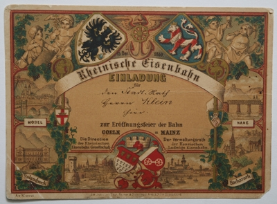 Oesterreicht-News-247.de - Österreich Infos & Österreich Tipps | Rheinische Eisenbahn: Einladung zur Eröffnung der Strecke Cöln-Mainz vom 15.12.1859