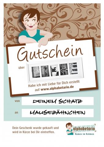 Shopping -News.de - Shopping Infos & Shopping Tipps | Last Minute Weihnachtsgutschein von alphabetario, mit dem Geschenk  LIEBE, aus Alphabet Fotos.