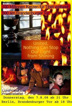 Ost Nachrichten & Osten News | Foto: Jede Kerze ist eine olympische Fackel für die Menschenrechte. Die Anzahl der brennenden Kerzen soll am 7.8.08 die Strasen hell leuchten.