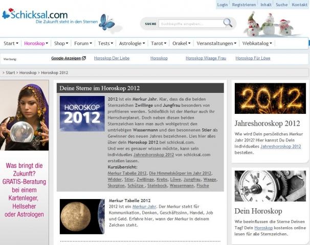 Tickets / Konzertkarten / Eintrittskarten | Horoskop 2012