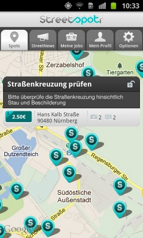 Mikrojobbing- App von Streetspotr