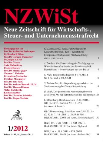 Die neue NZWiSt aus dem Verlag C.H.Beck