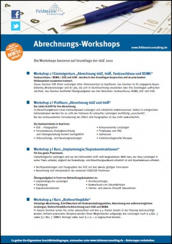 Einkauf-Shopping.de - Shopping Infos & Shopping Tipps | Abrechnungs-Workshops für Zahnarztpraxen