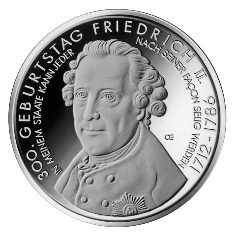 BIO @ Bio-News-Net | 10 Euro Münze - 300. Geburtstag Friedrich II. - Bildquelle mdm.de
