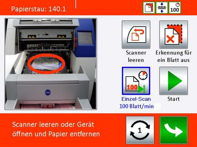 XINO-Scanner zeigen eventuelle Fehler direkt auf dem Touchscreen an, die der Anwender dann direkt am Scanner beheben kann.