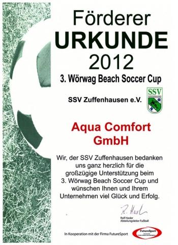 Sport-News-123.de | bereits zum zweiten Mal Förderer Urkunde für Aqua Comfort