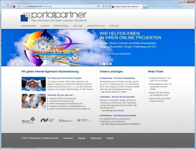 CMS & Blog Infos & CMS & Blog Tipps @ CMS & Blog-News-24/7.de | Abb.: Die Website von PortalPartner