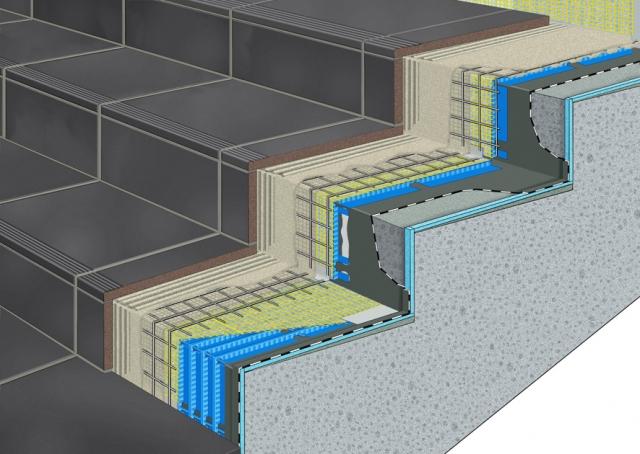 Auto News | AquaDrain SD von Gutjahr ist eine Treppendrainage aus vorgeformten Winkelelementen. Sie verhindert Schäden an Außentreppen sicher. Neu: Jetzt ist mit diesem System auch die dünnschichtige Verlegung von Keramik- und Natursteinbel