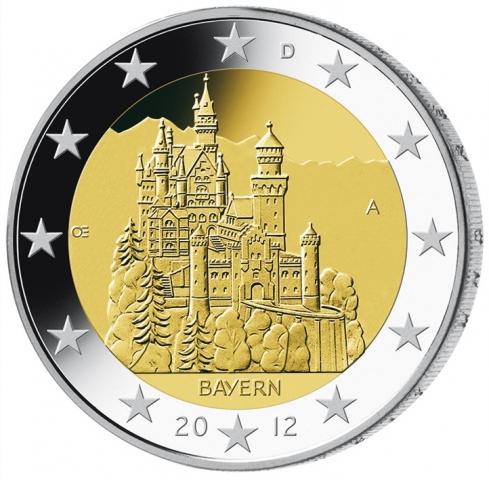 Bayern-24/7.de - Bayern Infos & Bayern Tipps | 2-Euro-Sondermünze Schloss Neuschwanstein Münz-Motiv - Bildquelle: www.mdm.de