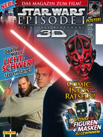 Berlin-News.NET - Berlin Infos & Berlin Tipps | Zum Kinostart der Episode I der Star Wars-Saga in 3D bringt Panini am 1. Februar das offizielle Magazin zum Film in den Zeitschriftenhandel.