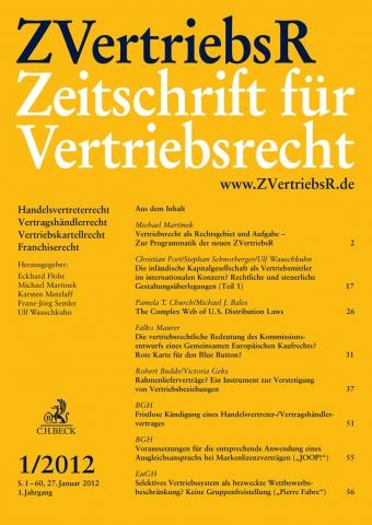 ZVertriebsR Zeitschrift für Vertriebsrecht