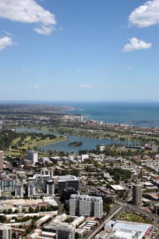 Tickets / Konzertkarten / Eintrittskarten | Blick auf die Rennstrecke rund um Albert Park Lake und die Port Phillip Bay, Melbourne