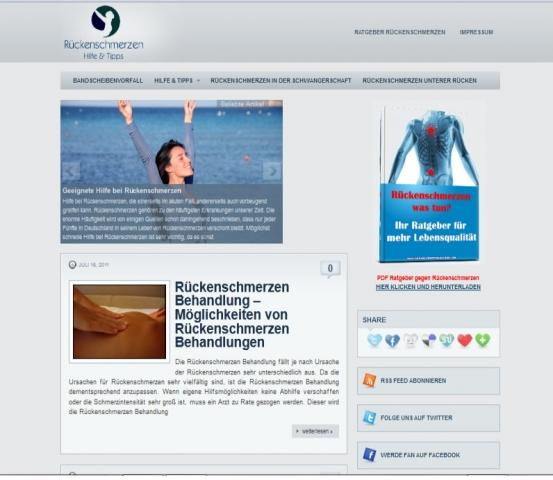 Rückenschmerzen was tun Webprojekt