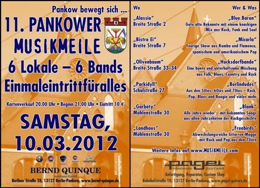 Berlin-News.NET - Berlin Infos & Berlin Tipps | Sechs Bands in sechs Lokalen - Pankow bewegt sich! 10. März 2012.