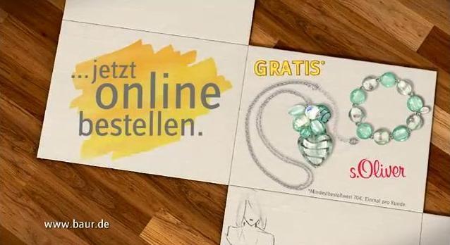 Ostern-247.de - Infos & Tipps rund um Geschenke   Der neue TV-Spot von Baur zeigt das Schmuck-Set von s.Oliver, das die Kunden kostenfrei erhalten, die bis zum 18. März 2012 auf baur.de für einen Wert von mindestens 70 Euro bestellen.