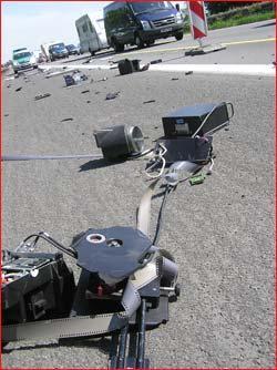 Autogas / LPG / Flüssiggas | Das bittere Ende einer Radarfalle! Foto: Polizei.