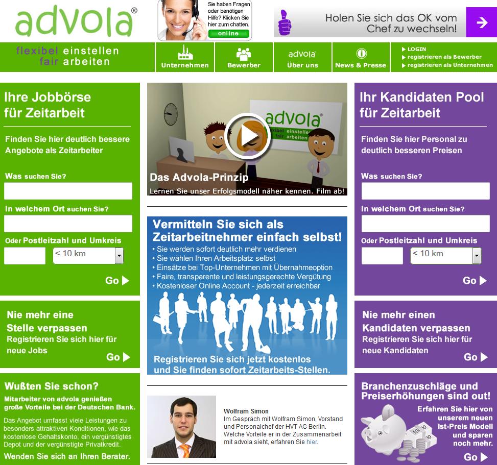 Marktplattform für Zeitarbeit – advola.de