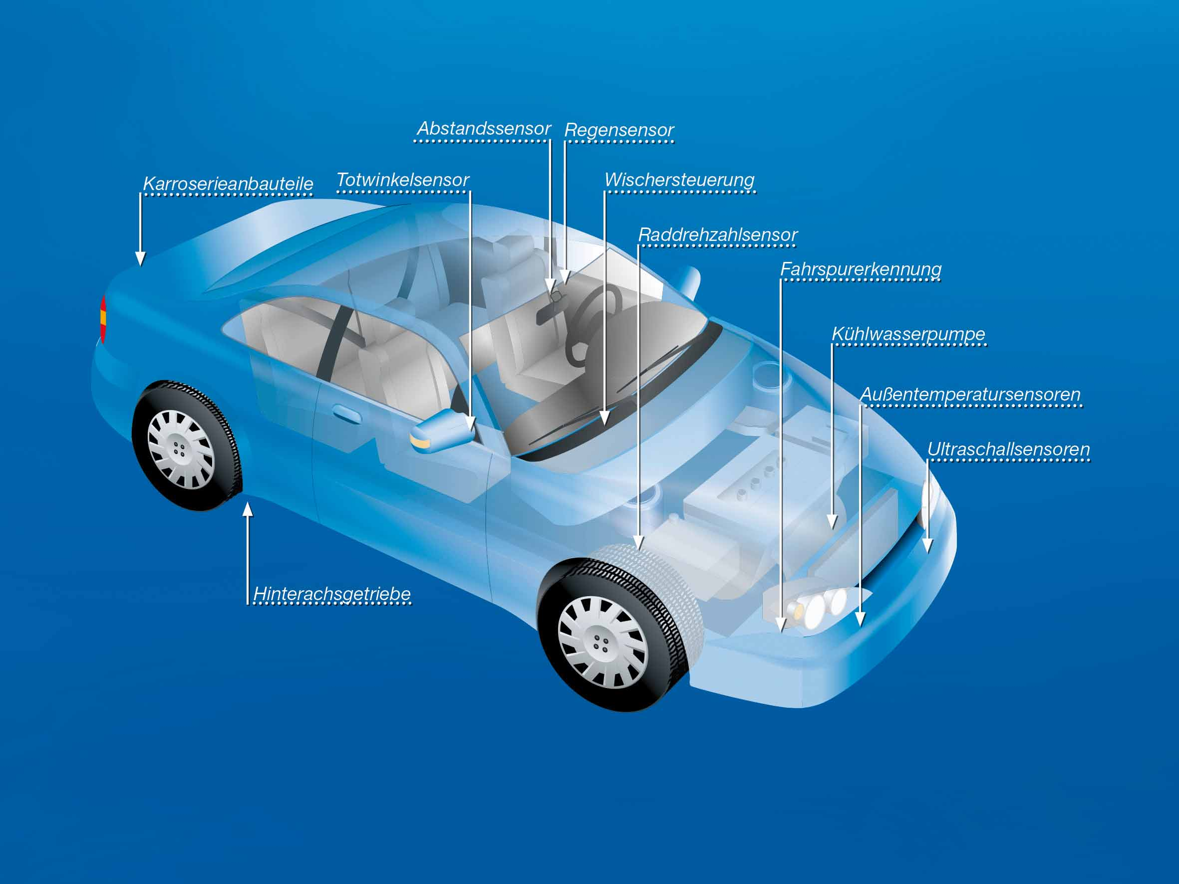 Auto News | Foto: Mögliche Klebungen mit DELO-DUOPOX im Automobil (© DELO)
