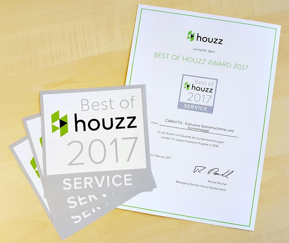CARAVITA® wird dem Best of HOUZZ-Award 2017 im Bereich Service ausgezeichnet