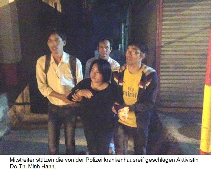 Forum News & Forum Infos & Forum Tipps | Mitstreiter stützen die von der Polizei krankenhausreif geschlagene Aktivistin Do Thi Minh Hanh