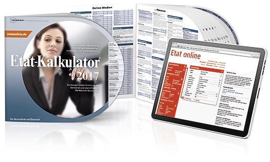 Internet Portal Center | Der Etat-Kalkulator Print und die online-Version bieten alle wichtigen Werbepreise auf einen Blick