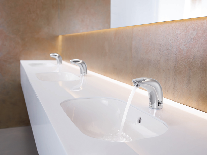 News - Central: Berührungslose Armaturen sorgen für mehr Hygiene. Hier: die HANSAELECTRA. Foto: Hansa Armaturen GmbH