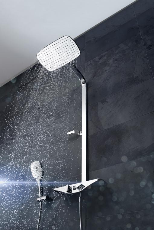 Smarte Lösung für das Hotelbad: das Wellfit-Duschsystem HANSAEMOTION. Foto: Hansa Armaturen GmbH | Freie-Pressemitteilungen.de
