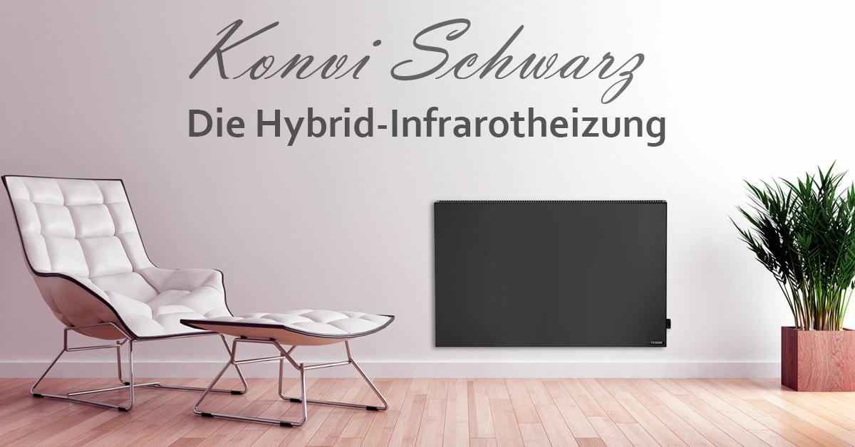 Hybrid Infrarotheizung in Schwarz und Weiß mit Strahlungswärme und Konvektion | Freie-Pressemitteilungen.de