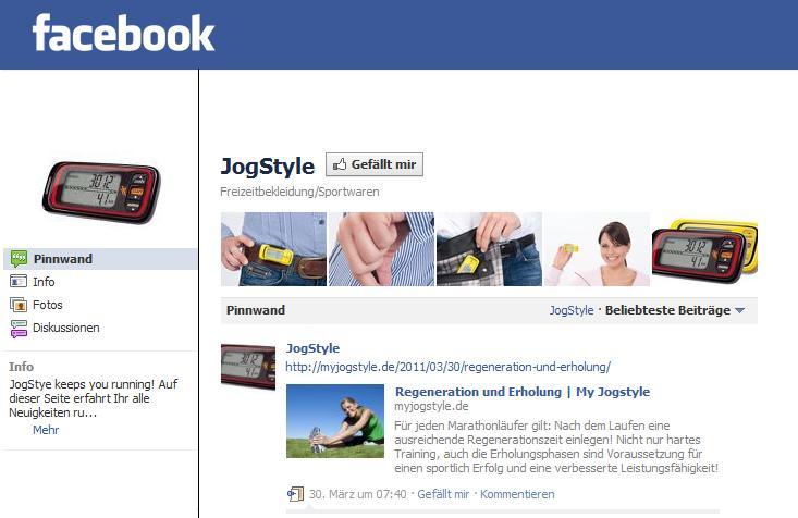 My JogStyle goes Social Media - jetzt Fan werden!