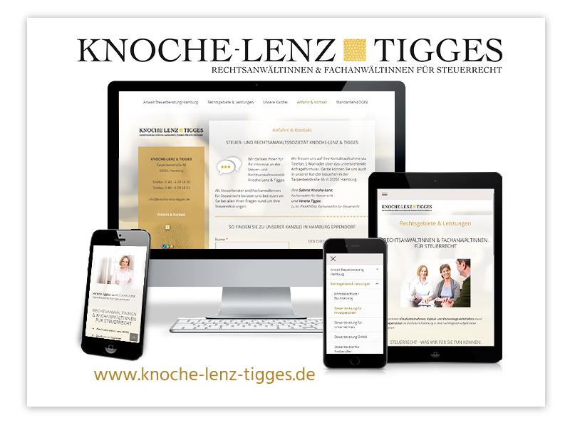 Responsive Website der Rechtsanwaltssozietät Knoche-Lenz & Tigges, Rechtsanwalt/Steuerberater für Steuerrecht in Hamburg