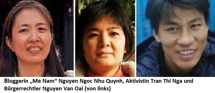 "Bloggerin ""Me Nam"" Nguyen Ngoc Nhu Quynh, Aktivistin Tran Thi Nga und Bürgerrechtler Nguyen Van Oai (von links)"