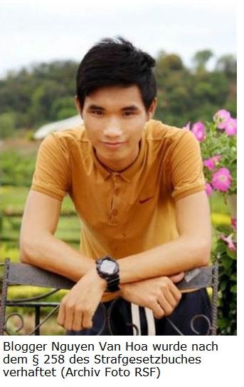 Internet Portal Center | Blogger Nguyen Van Hoa wurde nach dem § 258 des Strafgesetzbuches verhaftet