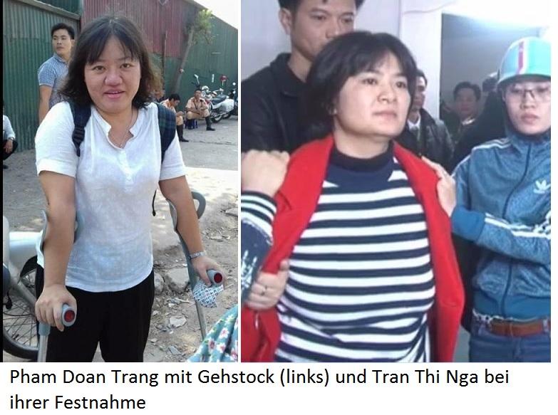Asien News & Asien Infos & Asien Tipps @ Asien-123.de | Pham Doan Trang mit Gehstock (links) und Tran Thi Nga bei ihrer Festnahme