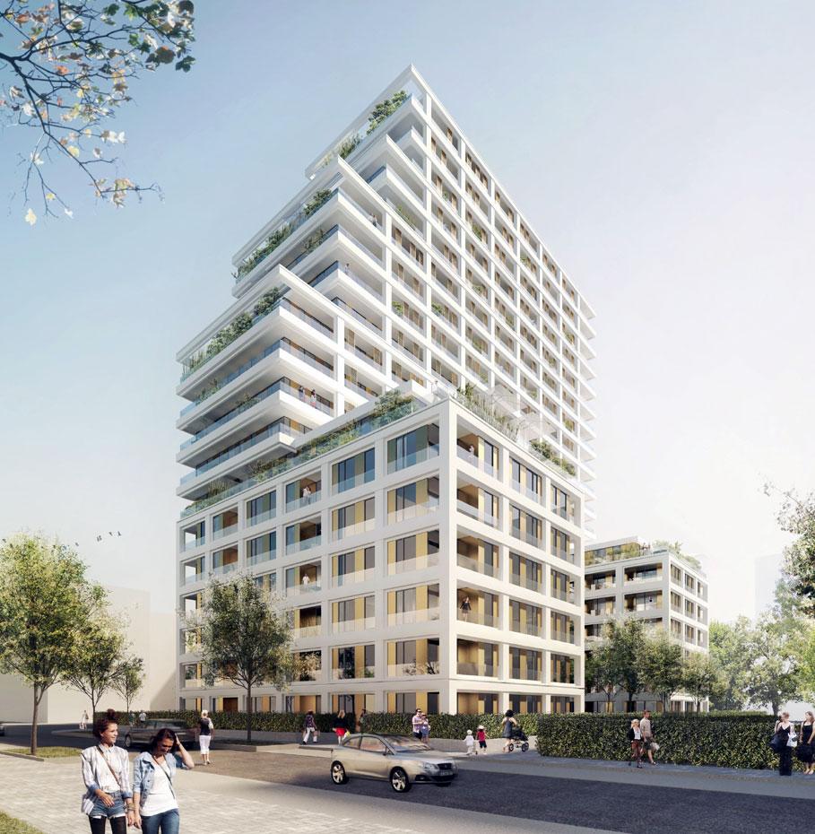 Duesseldorf-Info.de - Düsseldorf Infos & Düsseldorf Tipps | 6B47 Real Estate Investors baut im Frankfurter Europaviertel ab 2016 das Wohn-hochhaus CASCADA. Das Gebäude wird rund 60 Meter hoch und auf 21 Etagen 175 Eigentumswohnungen beherbergen. Quelle: 6B47