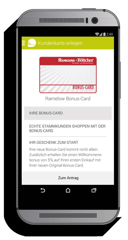 Ramelow Bonus-Card per Smartphone beantragen mit der NuBON App. Copyright: NuBON.