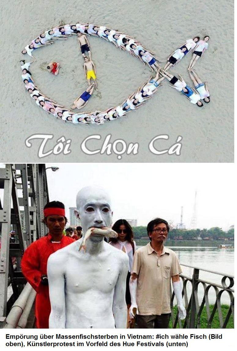 Forum News & Forum Infos & Forum Tipps | Empörung über Massenfischsterben in Vietnam: #ich wähle Fisch (Bild oben), Künstlerprotest im Vorfeld des Hue-Festivals (unten)