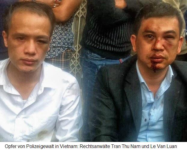 Ost Nachrichten & Osten News | Opfer von Polizeigewalt in Vietnam: Rechtsanwälte Tran Thu Nam und Le Van Luan