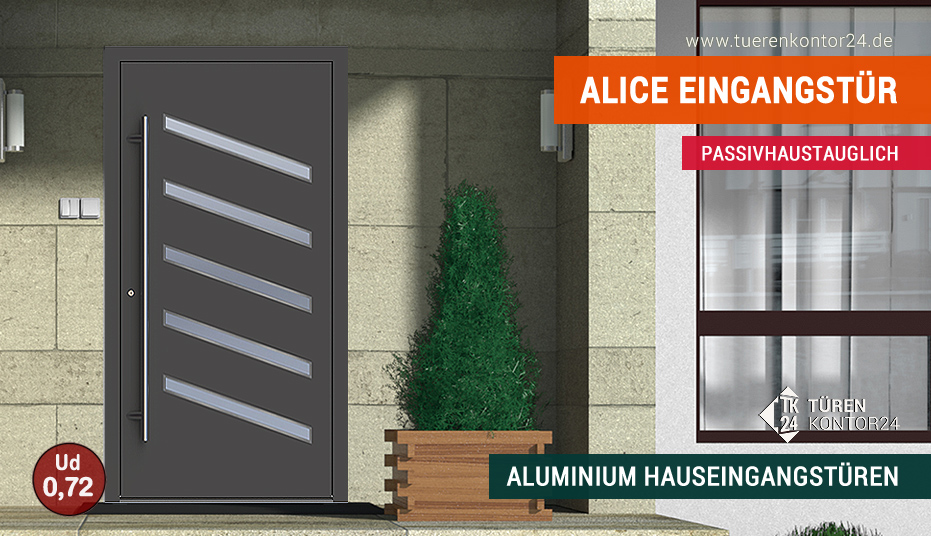Passivhaustaugliche Aluminium Hauseingangst�r Adana