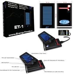 Alternative & Erneuerbare Energien News: Foto: Solarladegerät ET-1 Technische Daten, Packshot, Anwendungsbeispiel.