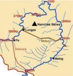 Asien News & Asien Infos & Asien Tipps @ Asien-123.de | Foto: Die große Flußschleife des Yarlung Tsangpo, Ausschnitt aus einer Karte von Tashi Tsering.