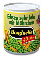 Nahrungsmittel & Ernährung @ Lebensmittel-Page.de | Foto: Anlässlich des 40jährigen Jubiläums bringt Bonduelle eine Nostalgie-Konserve >> Erbsen sehr fein mit Möhrchen << (850 ml) auf den Markt.