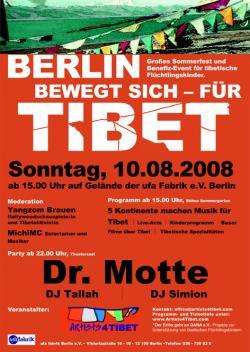 Ost Nachrichten & Osten News | Foto: Großes Benefiz-Sommerfest & Party für TIBET am 10.8.2008, ufaFabrik Berlin.
