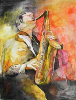 Ost Nachrichten & Osten News | Foto: Saxophonist - Aquarell von Frank Koebsch.