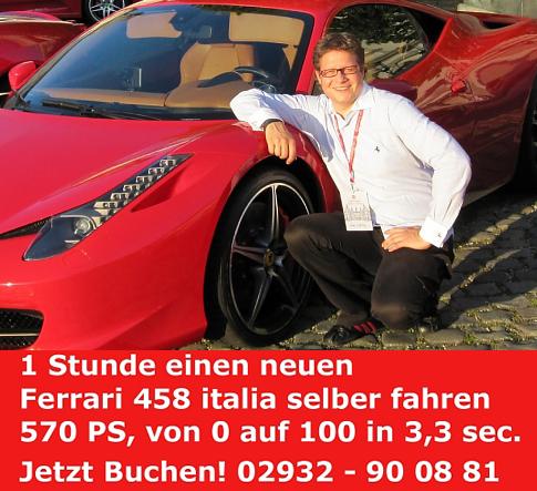 Diesen neuen Ferrari 458 italia können Sportwagen-Fans bei Simon Konietzny mieten und selber fahren – vom 23. bis 25.9.2011.