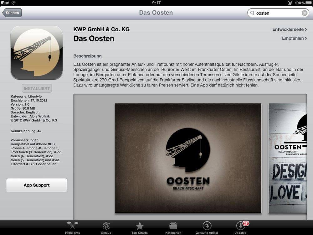 Hybrid-App für die Frankfurter Szene-Location Das Oosten