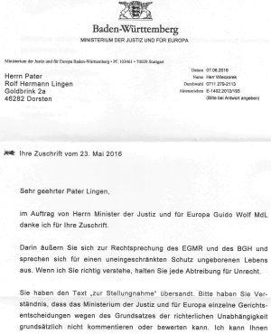 Brief von Justizministerium an den Verf. | Freie-Pressemitteilungen.de