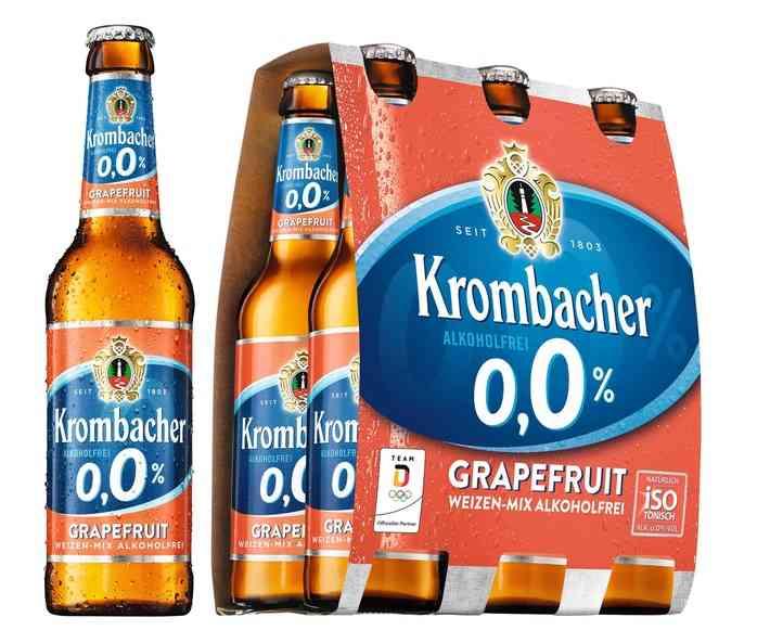 Bier-Homepage.de - Rund um's Thema Bier: Biere, Hopfen, Reinheitsgebot, Brauereien. | Foto: Der natürliche Durstlöscher Krombacher o,0% jetzt auch als Grapefruit Weizen-Mix / Quellenangabe: obs/Krombacher Brauerei GmbH & Co.