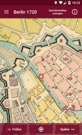 Historisches @ Historiker-News.de | Foto: Screenshot der App: Karte von 1720 mit dem Standort des Benutzers