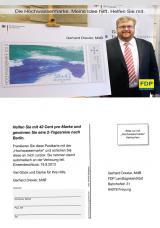 Bayern-24/7.de - Bayern Infos & Bayern Tipps | Foto: Spende über Sondermarke: FDP-MdB Gerhard Drexler hat 100.000-Postkarten-Aktion initiiert. F: DAVIDS.