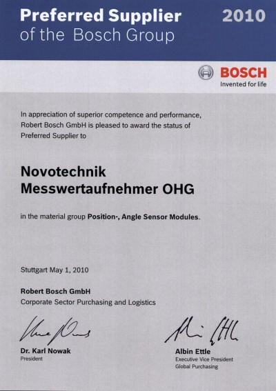 Auto News | Mit der Auszeichnung wird der Sensorikspezialist Novotechnik auf Grund großen Einsatzes, hoher Kompetenz und überdurchschnittlicher Leistungsfähigkeit von der Bosch-Gruppe als bevorzugter Lieferant bewertet. (Foto: Novotechnik)